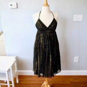 Black and Gold Halter Criss Cross Back Dress